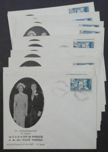 EDW1949SELL : FRANCE Unusual collection of 14 Commemorating Br. Wedding covers.