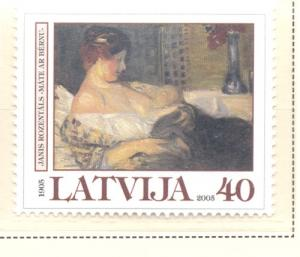 Latvia Sc 617 2005 Rozentals Painting stamp mint NH