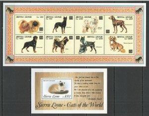 QQ235 SIERRA LEONE CATS DOGS FAUNA DOMESTIC ANIMALS PETS YEAR OF DOG KB+BL MNH