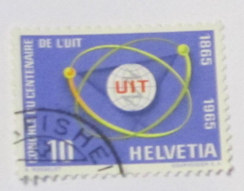 Switzerland - 471, Used. IYU Emblem; Atom Diagram. SCV-$0.25