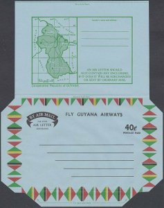 GUYANA 40c Fly Guyana Airways map aerogramme unused ........................J973