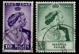 MALAYA PERAK SG122/3 1948 SILVER WEDDING FINE USED