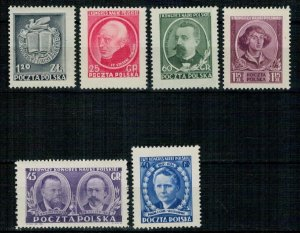 Poland 1951 MNH Stamps Scott 511-516 Polish Science Copernicus Sklodowska-Curie