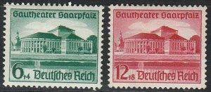 Stamp Germany Mi 673-4 Sc B121-2 1938 Fascism Saarpfalz Theater Saar MH