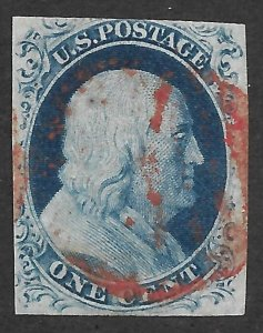 Doyle's_Stamps: Nicely Centered Used 1852 Franklin Imperf Scott #9