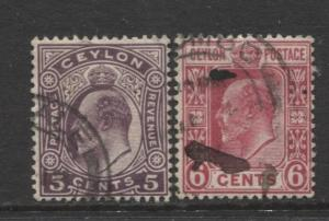 CEYLON -Scott 197-98- KEVII - Definitive- 1908- Wmk 3 - Used -Set of 2 Stamp