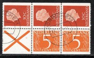 Netherlands Scott # 349a, used, booklet pane, se-tenant