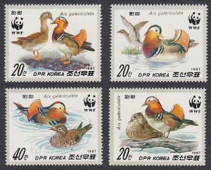 Birds WWF Mandarin Duck 4v SG#N2715-2718 MI#2865-2868 SC#2679-2682