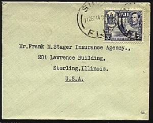 FIJI 1944 GVI 3d single franking cover ex Suva to USA......................98219