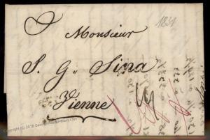 Turkey 1831 Vienne France Disinfected Cholera Cover Constantinople 91916