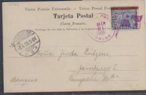O) 1906 COLOMBIA, ANTILLAS-PANAMA, MAP 5 CENTAVOS, CARTE POS