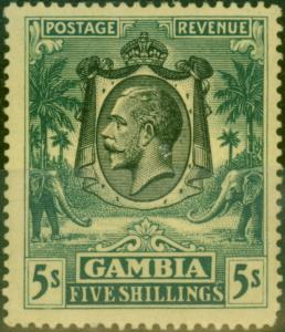 Gambia 1922 5s Green-Yellow SG121 Fine MNH