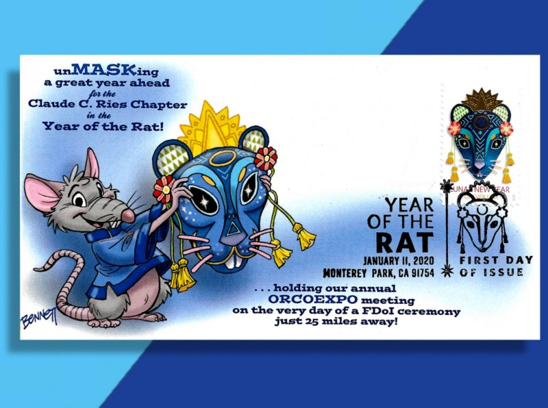 Hot Off the Hibachi! -- Brand New Year of the Rat FDC from Bennett Cachetoons