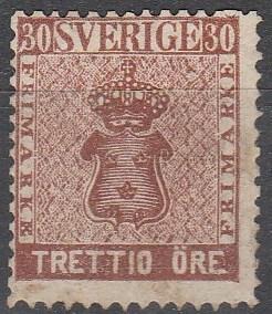 Sweden #11 Fine Unused CV $500.00 (C3885)