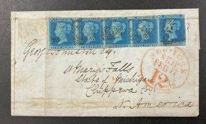GREAT BRITAIN Sc #4, SG #14, 1848 2d blue stp. 5 on TransAtlantic folded letter