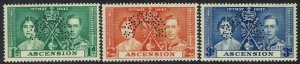 ASCENSION 1937 KGVI CORONATION SPECIMEN SET