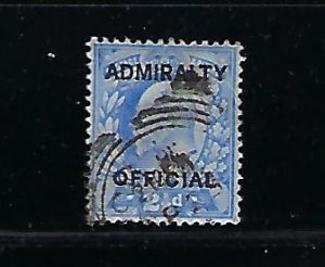 GREAT BRITAIN SCOTT #O76 1903 ADMIRALTY OVERPRINT 2 1/2P (TYPE I) - USED