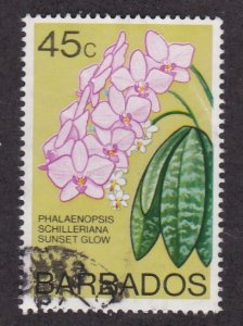Barbados # 406B, Sunset Glow Orchid, Used, 1/3 Cat.