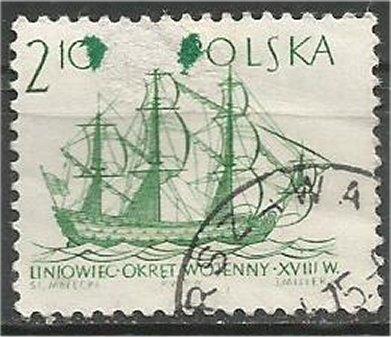 POLAND, 1964, used 2.10z, Ancient Ships Scott 1210 Printer ERROR