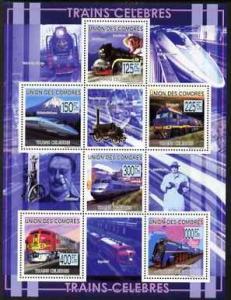 Comoro Islands 2009 Railway Celebrities perf sheetlet con...