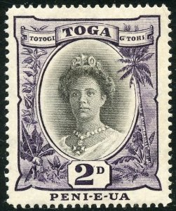 Tonga Scott 56a Unused HOG - 1920 Queen Salote, Die II - SCV $6.00