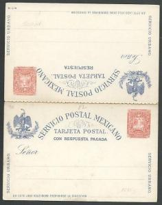 MEXICO Early 2c postcard with reply card unused............................66164