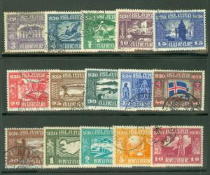ICELAND #152-166 (173-87) Complete Parliament set, used, VF, Scott $1,282.