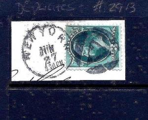 Large US Banknote Stamp w/NYC Masonic TRIANGLE Fancy Cancel ~ Free Shipping!!!
