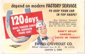 LITHO ADVERTISING ITEM for EWING CHEVROLET SERVICE meter stamp 1950s-60s VF