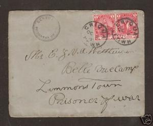Cape of Good Hope Sc 59 used 1900 GRIQUA TOWN Censored Cover to Prison Camp, VF