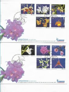 COSTA RICA 2007 ORCHIDS FLOWERS COMPLETE SET OF 10 VALUES ON 2 FDC COVERS