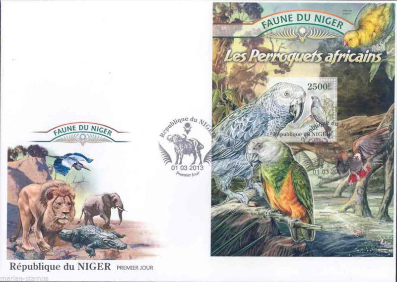 FAUNE OF NIGER 2013  PARROTS SOUVENIR SHEET  FIRST DAY COVER