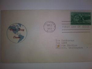 SCOTT#1019 FIRST DAY OF ISSUE WASHINGTON TERRITORY BEAUTIFUL CACHET FREE SHIP !!