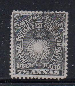 British East Africa Sc 22 1890 7 1/2 annas  Sun & Crown stamp used