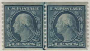 Scott 496 1919 5c Washington Coil Line Pair