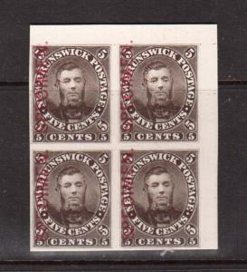 New Brunswick #5PV XF Mint UR Proof Block With Vertical Thick Specimen Type C