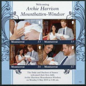 Montserrat 2019 MNH Prince Archie Royal Baby Harry Meghan 4v M/S Royalty Stamps