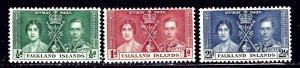 Falkland Is 81-83 MNH 1937 KGVI Coronation    (ap2305)
