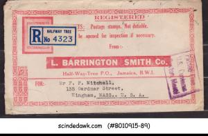 JAMAICA - 1947 REGISTERED ENVELOPE TO USA WITH KGVI STAMPS