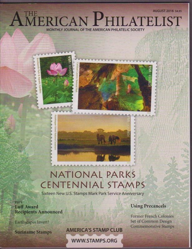 APS Magazine Aug 2016 , National Parks Centennial Stamps - I Combine S/H
