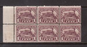 New Brunswick #6 VF Mint Imprint Block Of Six