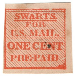 (I.B) US Local Post : Swart's Pre-Paid 1c