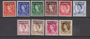 J26356  jlstamps 1952-5  great britain morocco set mh #270-9 ovpt