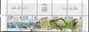 PITCAIRN ISLANDS, 511, MNH, STRIP OF 4 + LABEL, PROTECTION OF GALAPAGOS