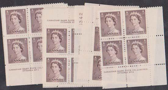 Canada - #325 Plates 1,2 & 3 Matched Set - 1953 1c Karsh - Mint F-VF NH