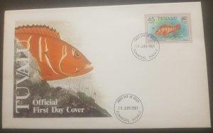 O -r) 1981 TUVALU, FISH - BLACK-TIPPED ROCK, FDC XF
