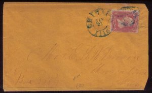 US Sc#64a PIDGEON BLOOD PINK ON COVER TIED BY  CHICAGO, ILLS TO MUSCATINE,IOWA