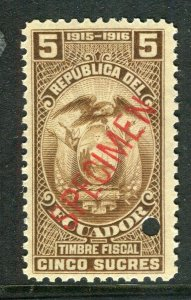 ECUADOR; Early 1900s fine Fiscal issue Mint MNH unmounted SPECIMEN 5s.