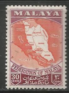 MALAYA  83  MNH,  MAP OF FEDERATION