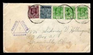Burma WWII USA Censored Missionary Mail 6/24/1940 WWII Rangoon- Sc #1, 21x3 & 22